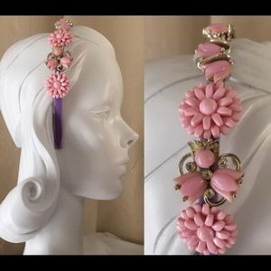 Accessories - Pink Floral and Velvet One of a Kind Headband